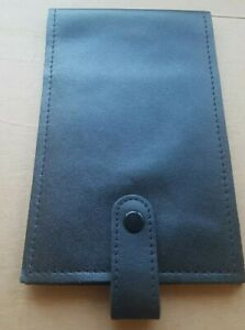 Black Real Leather Card Passport ID Golf Score Card Note Pad Wallet Holder