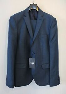 New Slate Blue Linen Blend Gingham Skinny Fit Suit Jacket Size 38 Trousers 32R