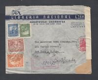 COLOMBIA 1943 WWII REGISTERED CENSORED AIRMAIL COVER BARRANQUILLA NEW YORK USA