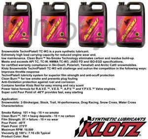 FOUR 1 Gal Jugs Klotz KL216 Synthetic Techniplate TC-W3 Snowmobile 2-Stroke Oil