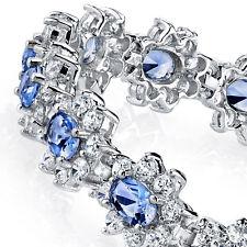 18K White Gold Plated Created Tanzanite Fancy Lab Diamond Tennis Bracelet Bridal