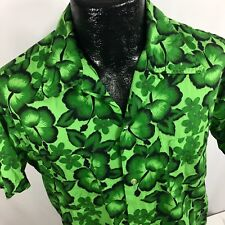40d5e868 Vtg 50-60's Brent Men GREEN Hibiscus FLORAL Hawaiian Loop Collar Camp Shirt  ...