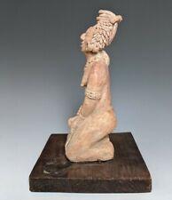 "Large Ancient Pre Columbian Jaina Kneeling Figure Polychrome Decoration 10.5"""