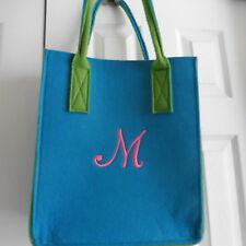 "Blue Felt Tote Bag w/ ""M"" Monogram, Short Handles,14"" x 12"" wide x 6"" deep, New!"