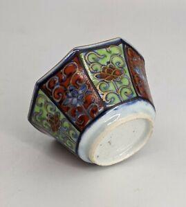 Chinese Antique Porcelain Tea bowl Octagonal Clobbered - Kangxi / Yongzheng 18th