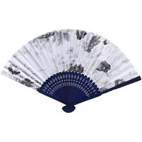 Fabric Chinese Style Floral Pattern Dancing Folding Hand Fan White W4P9