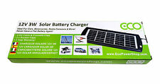 Eco Power Shop 3W 12V Solar Battery Charger - Crocodile Clips & 1 Year Warranty!