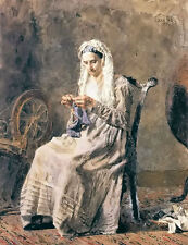 Oil painting thomas eakins - seventy years ago old woman sewing free shipping @@
