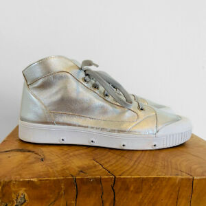 V.RARE - BRAND NEW SPRING COURT SILVER LAMBSKIN LEATHER M2 HI TOP GLOVE SNEAKERS
