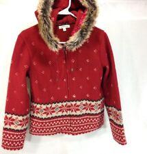 Orvis Fleece Jacket Womens Small Red Snowflake Full Zip Faux Fur Trim Hooded