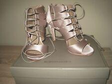 BCBG MAXAZRIA €275 Sandali tacco alto gladiatore  grigio satin n° 37,5 Alta moda