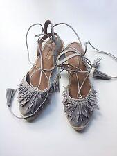 Aquazzura Pocahontas Fringed Grey Suede Lace Up Flat Espadrille  Sz 37 $650 NEW