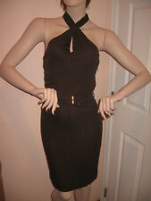 $1450  NWT AUTH GUCCI CROSS FRONT HALTER COCKTAIL DRESS with BELT sz 2, 4