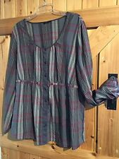 Hippie Boho Blouse / Top By George Size 22 In Mixed Bluish Grey & Pink Chest 46""