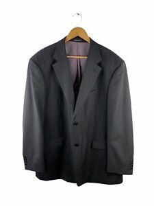 Modotti Button Up Blazer Suit Jacket Mens Size 117 Black Striped Lined Wool Silk