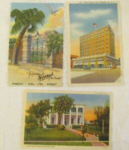 3 UNPOSTED VINTAGE LINEN POSTCARDS VIRGINIA DARE HOTEL, HENRY'S FOODS, MANSION