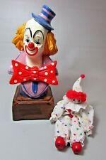 Lot of 2 Clown Figurine one is a Music Box Musical