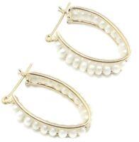 Freshwater Pearl White Oval Earrings,14K Yellow Gold