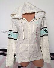 Victoria's Secret Pink Heather Luna Pearl Black Mint Zip Up Hoodie Jacket - XS