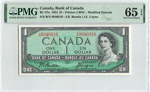 CANADA 1 Dollar 1954, BC-37a Beattie Coyne, PMG 65 EPQ Gem UNC, Scarce Variety