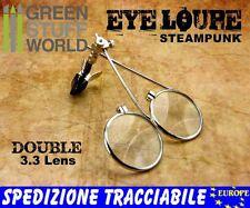 Doppia lente di ingrandimento con pinza clip- DOOPIO loupe - stile Steampunk