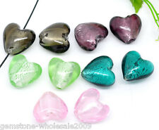 10PC Wholesale Lots Mixed Heart Foil Glass Lampwork Beads 20x20mm GW