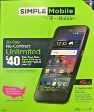 Simple T-Mobile ZTE ZFIVE 2 Z836BL Prepaid Cell Phone Smartphone New No Credit ✔