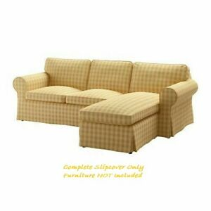 IKEA EKTORP Cover for 3-Seater Sofa with Chaise in Skaftarp Yellow: 003.398.31 *