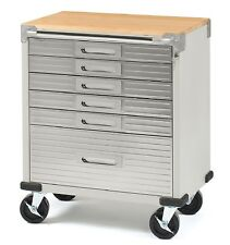 Seville Classics Ultrahd 6-Drawer Rolling Cabinet Stainless Steel Drawer Fronts