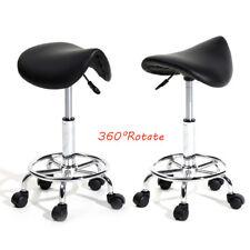 Adjustable Hydraulic Swivel Saddle Stool SPA Salon Massage Bar Chair Black New