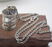 Sterling S925 Silver Pendant For Women Men Six Word Sutra Treasure Luck Box