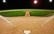 Stampa incorniciata – vuoto il campo da baseball di notte (Sports FOTO POSTER Mazza e Palla)
