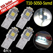 4 PCS Pure White T10 Wedge 5-SMD5050 License Plate LED Light Bulbs W5W 168 194