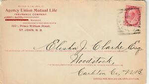 Canada ST JOHN NB Squared Circle Queen Victoria 3c Numeral INSURANCE CO Ad 1898