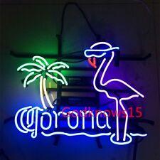 Vintage CORONA FLAMINGO PALM REAL GLASS  BEER BAR PUB NEON LIGHT DISPLAY SIGN