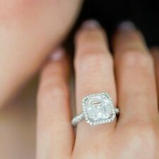 2.85 Ct Asscher Cut Diamond Halo Engagement Pave Set Ring EGL USA 14k Gold H,VS1