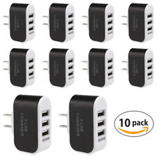 AC Wall Outlet To USB Port Power Adapter Triple Socket 3 slot Rapid Charger 10pc