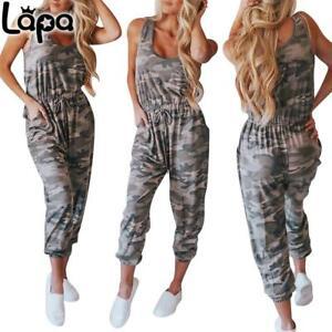 LAPA Damen Camouflage Overall Jumpsuit Ärmellos Einteiler Freizeit Hosenanzug