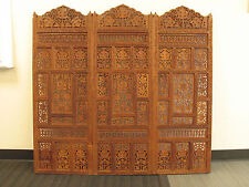 3 Vtg Bali Indonesian Carved Teak Wood Architechural Panels/converted to Screen