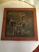 South African artist PAULA VAN EMMENIS Art on Slate Framed 10 x 10 signed 2010