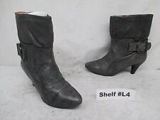 STEVE MADDEN Gray Leather Pull On High Heel Ankle Boots Size 7 Made in Spain