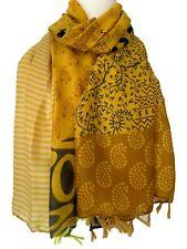 Mustard Yellow Scarf Ladies Tassel Oversized Floral Striped Spotty Tassels Wrap