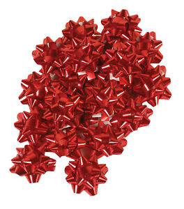 100 Metallic Small Red Star Bows Gift Wrapping Holiday Christmas Party Bow Wrap