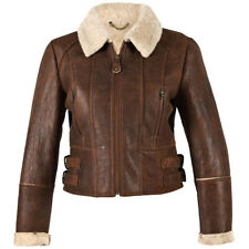 New Sheepskin Aviator Ladies Leather Coat - Ella - Brick Forest - Size 8 - 16