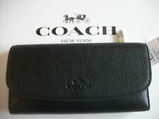 COACH PEBBLE LEATHER CHECKBOOK WALLET BLACK F56488  MSRP $250 NWT
