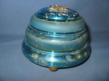 """1940's Vintage Wind-Up Powder Puff Music Box Aluminum 3.25"""" tall and 4.75"""" dia"""