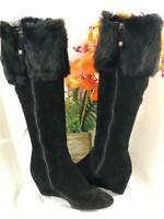 FABIANELLI Italy Black Suede & Fur Wedge Knee High Boots #A650 Sz EU 37/ US 7