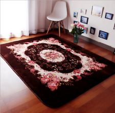 Romantic Brow Rose Rug For Living Room,American Country Style Carpet Bedroom Rug