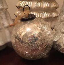 "MERCURY Crackle Glass Christmas Ornaments LARGE GOLD 4"" Kugel Vintage Set4"