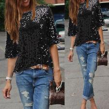 UK Stock Ladies Off-shoulder Glistening Sequin Slim Shirt Tops Blouses Tee